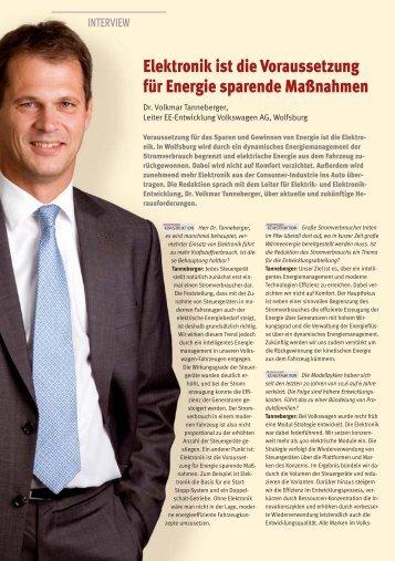 Interview mit Dr. Volkmar Tanneberger von Volkswagen in der AK 3 ...