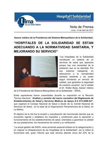 hospitales de la solidaridad se estan adecuando a la normatividad ...