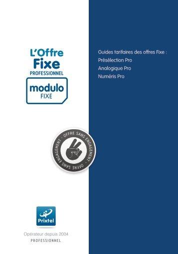 Guide tarifaire Modulo FIXE Pro - Prixtel