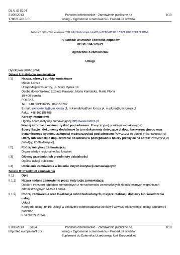 Ogłoszenie o zamówieniu 2013-OJS104-178621-pl - Łomża