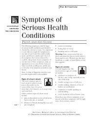 Symptoms of Serious Health Conditions - WomensHealth.gov