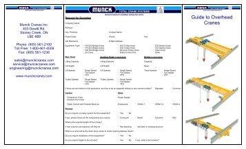 Guide to Overhead Cranes - Munck Cranes Inc.