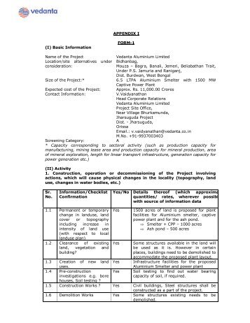 form 1 and terms of reference for eia - West Bengal Pollution ...