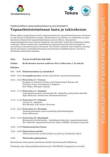 Seminaariohjelma ja ilmoittautuneet - Kansalaisareena