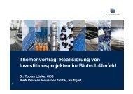 Realisierung von Investitionsprojekten im Biotech ... - BIO Deutschland