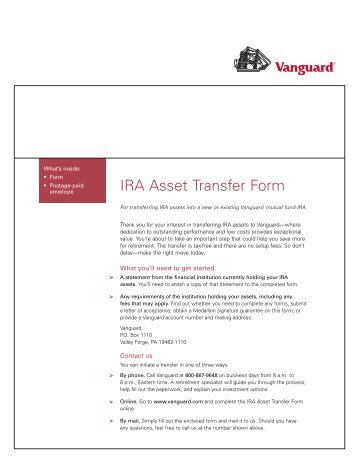 Moving Your IRA to Vanguard (IRA Asset Transfers)