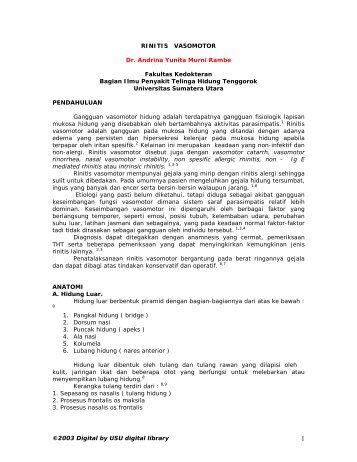 RINITIS VASOMOTOR - USU Library - Universitas Sumatera Utara