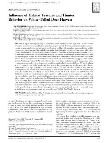 Influence of habitat features and hunter behavior on white‐tailed ...