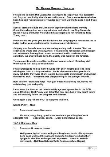 MID CANADA REGIONAL SPECIALTY - Irish Wolfhound Club of ...