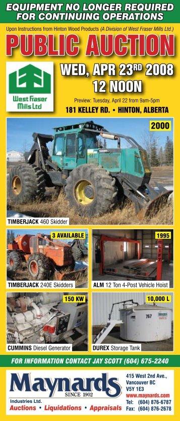 Equipment No Longer Required   Maynards Industries