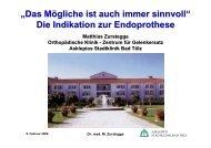 Die Indikation zur Endoprothese - Septische Chirurgie