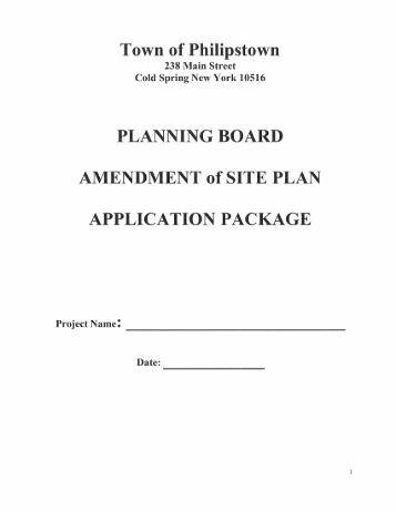 Town of Philipstown PLANNING BOARD AMENDMENT of SITE ...