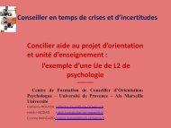 Concilier aide au projet d'orientation et unité d ... - Propos orientés