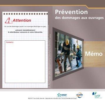Prévention des dommages aux ouvrages Mémo -  Protys