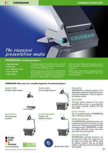 OVERHEAD PROJECTORS KINDERMANN overhead projectors