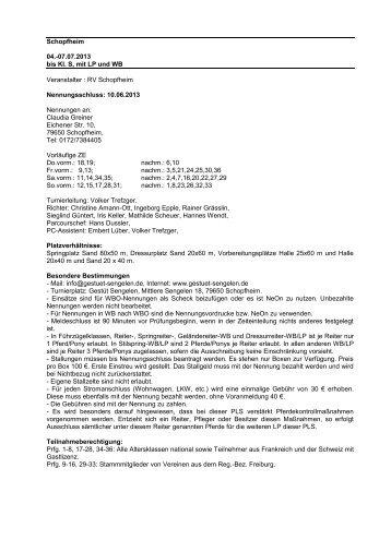 07.07.2013 bis Kl. S, mit LP und WB Veranstalter : RV Schopfheim ...
