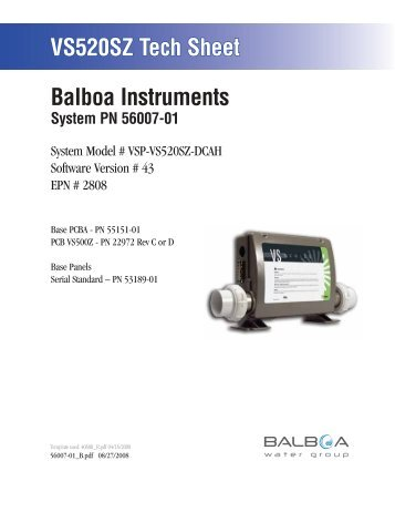 56007-01, VSP-VS520SZ-DCAH - Balboa Direct