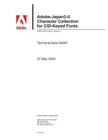 Adobe-Japan2-0 Character Collection for CID ... - Adobe Partners