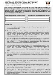 Certificate of Structural Sufficiency Application Form - City of Perth