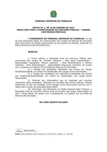 tribunal superior do trabalho edital nº 1, de 15 de janeiro de 2013 ...