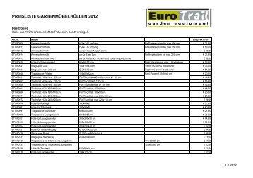 Gartenmöbel Hüllen Preisliste Endverbrauch 2012 - Eurotrail