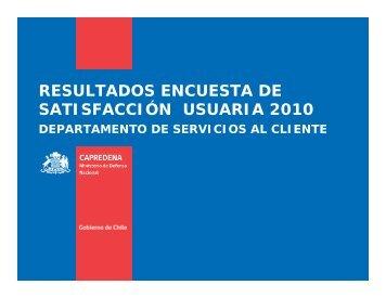 resultados encuesta de satisfacción usuaria 2010 - Capredena