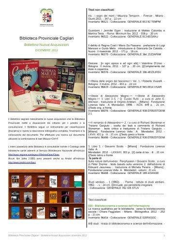 Bollettino Novità dicembre 2012 [file .pdf] - Biblioteca Provinciale di ...