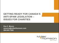 issues for charities - Miller Thomson