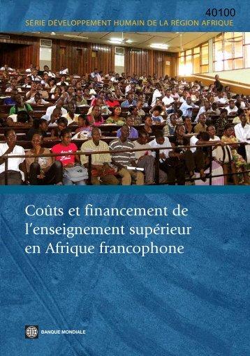 Coûts et financement de l'enseignement supérieur en Afrique ...