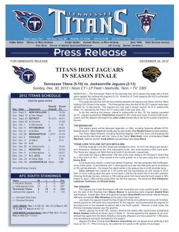 TITANS HOST JAGUARS IN SEASON FINALE - NFL.com