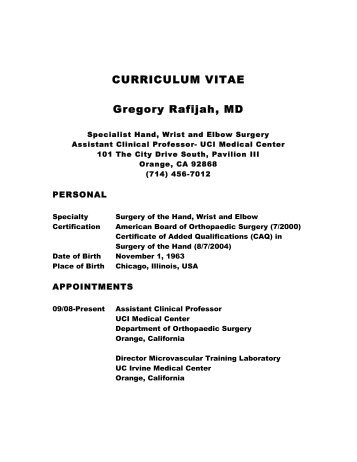 Dr. Rafijah's CV - Orthopaedic Surgery - University of California, Irvine