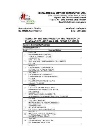 Pharmacist Gr II, III Final Results - Vskills