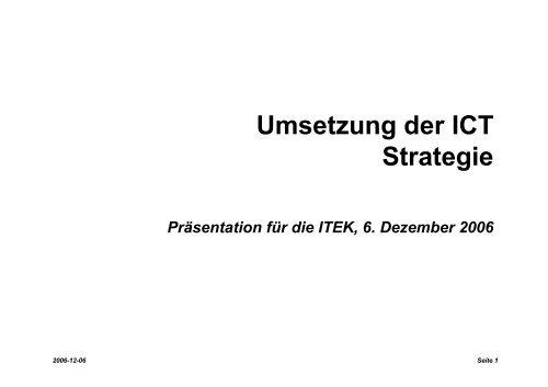 Umsetzung der ICT Strategie - ITEK - ETH Zürich