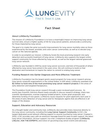 Fact Sheet - LUNGevity Foundation