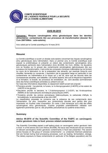 AVIS 09-2010 Résumé Summary - FAVV