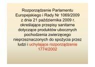 Rozporządzenie Parlamentu Europejskiego i Rady Nr 1069/2009 z ...