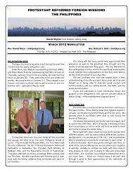 PROTESTANT REFORMED FOREIGN MISSIONS THE PHILIPPINES