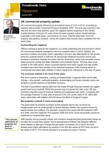 Viewpoint - Property - January 2013 - Threadneedle Investments