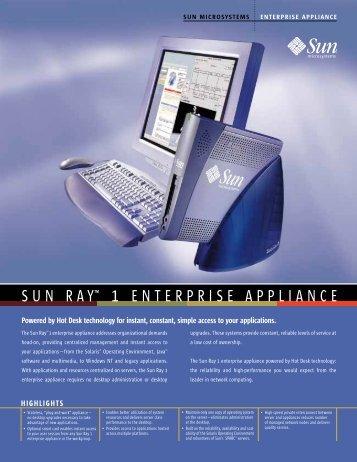 "SUN RAYâ""¢ 1 ENTERPRISE APPLIANCE - Compucanjes"