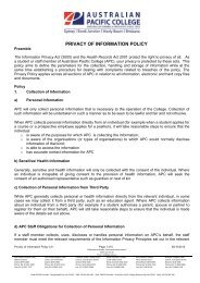 Privacy and Information Policy - Australian Pacific College