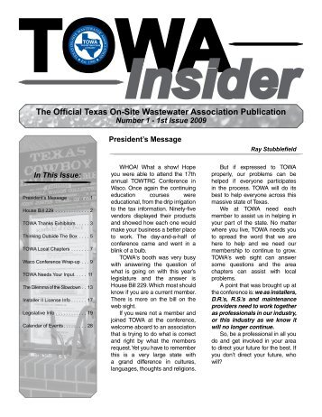 TOWA Insider - Texas Onsite Wastewater Association