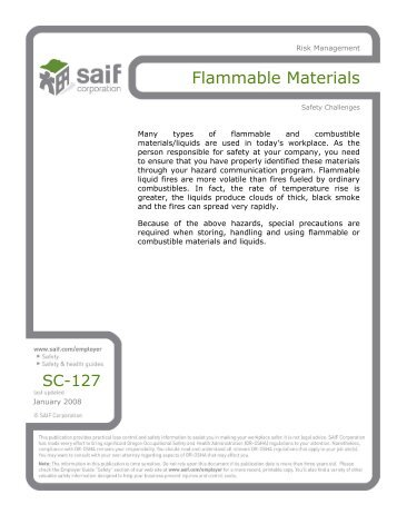 Flammable Materials - SAIF Corporation