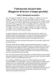 Vademecum sul part-time (Rapporto di lavoro a ... - CUB Piemonte