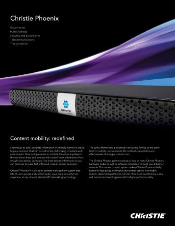 Christie Phoenix Brochure - Christie Digital Systems