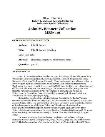 John M. Bennett Collection MSS# 116 - OHIO University Libraries
