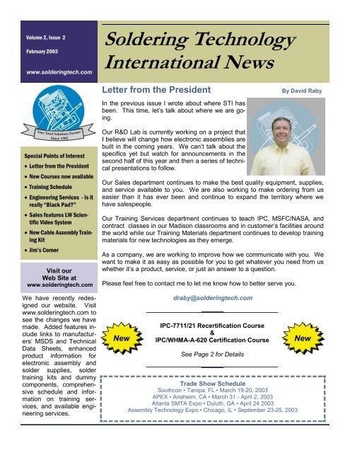 Soldering Technology International News - STI Electronics, Inc
