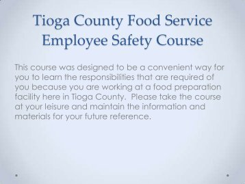 Tioga County Food Service Employee Safety Course