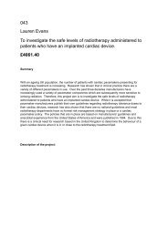 043 Lauren Evans To investigate the safe levels of radiotherapy ...