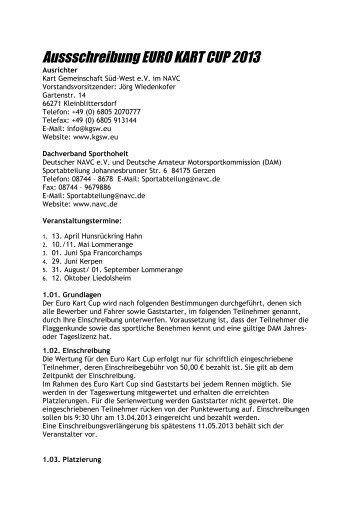 Reglement - Euro Kart Cup