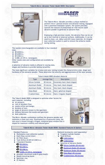 Taber® Abraser Models 5150 Brochure - Corporate Consulting ...